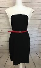 Calvin Klein Off White Black Color Block Sheath Dress Red Belt Size 12 Career A6