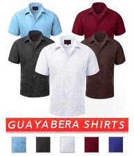 Elegant Guayabera Short Sleeve Casual Shirt with Cuban Style Embroidery For Men