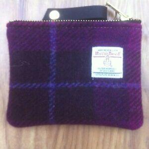 purple Harris tweed coin purse, tartan purse, plaid purse, gift for her