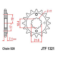 JT Sprockets Ritzel 12Z Teilung 520 feinverzahnt Innendurchmesser 18.4/21.6