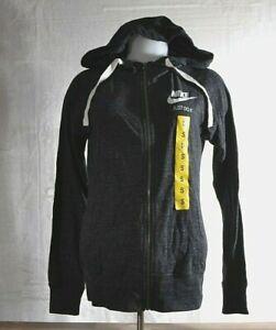 Nike Women's SMALL Sportswear Gym Vintage Women's Full-Zip Hoodie 883729 GRAY