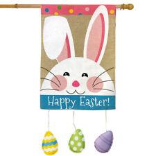 "Happy Easter Bunny Burlap House Flag Eggs Holiday 28"" x 40"" Briarwood Lane"