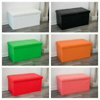DOUBLE LARGE 2 SEATER OTTOMAN STORAGE BOX FAUX LEATHER FOLDING POUFFE SEAT TOY