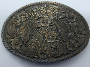 Antique 1940s Bronze Plated Nickel Silver Mens Cowboy Western Floral Belt Buckle