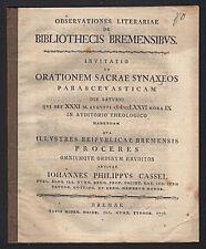 Bremen Observationes Literariae Schrift von J. Ph. Cassel 1776 Original