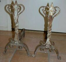 RUSTIC PRIMITIVE ANTIQUE HEAVY TWISTED CAST IRON FIREPLACE ANDIRONS SET