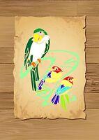 Parrot & 2 Smaller Birds Stencil 350 micron Mylar not thin stuff#Bird005
