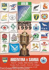 ARGENTINA v SAMOA (Rugby World Cup Pool D 10.10.1999) Programme