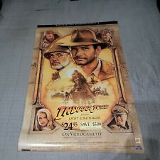 Indiana Jones and the Last Crusade Vintage Video Store Vhs Movie Poster W/ Date