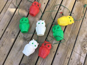 Vintage Noma Blow Mold Owl Patio camping RV lights~excellent + Condition