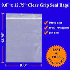 9 x 12.75 FITS A4 Size Grip seal bags Resealable Self Seal Clear Poly Plastic