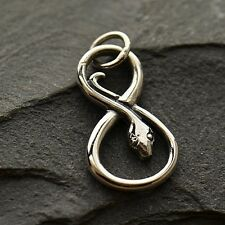 925 Sterling Silver Infinity SNAKE Pendant charm for Chain Necklace Men's Womens