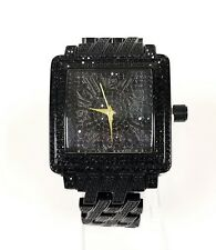 NEW TECHNO TREND BLACK TONE,CRYSTALS,BLING DIAL,BRACELET BAND WATCH ET-1257