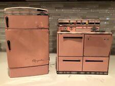 Vintage Tin Metal pink 1950's Woolverine Refrigerator and Stove