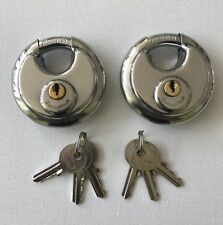 70MM STAINLESS WEATHERPROOF DISC PADLOCK KEYED ALIKE X 2 WITH 6 KEYS