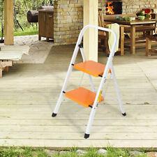 2 Step Ladder Stool Safety Anti Slip Rubber Mat Tread Steel Folding Frame