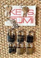 Lot of 6 Vintage 1990's TUMI & Dakota Luggage Mini Zipper Padlocks Locks w Keys