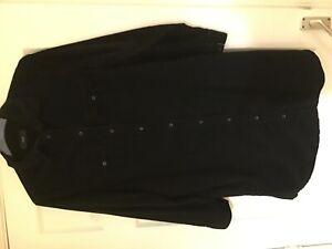 Ladies size 18 NEXT black corduroy cotton knee length shirt dress Checked cuffs
