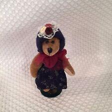 """Boyd's Bears Plush T. F. Wuzzie TATUM Blue Hat & Dress 3"""" Mini with Boyd's Stand"""