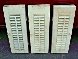 "ANTIQUE 3 LOT WOOD WINDOW SHUTTERS W/ORIGINAL HARDWARE 20"" X 14.25"""