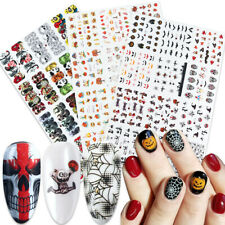 Halloween Skeleton Nail Art Stickers Water Transfer Decals Nails Foil Decoration