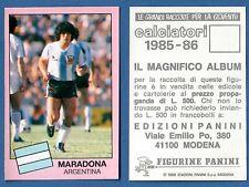 FIGURINA CALCIATORI PANINI 1985/86 - NUOVA/NEW N.332 MARADONA