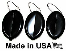 Oval Rubber Coin Purse Change Holder With Chain By Nabob