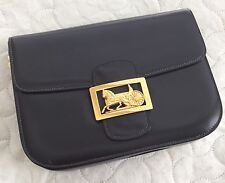 Authentic Vintage Celine Box Horse Carriage Bag Navy Blue GUC