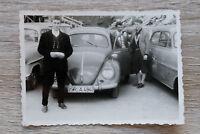 1x Foto Auto Oldtimer VW Käfer 1950-60er Classic Car Kfz Straubing Kennzeichen