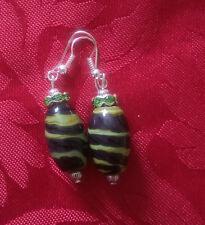 Lampwork drop dangle,silver plated earring  green/black flower(188)rhinestone