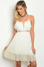 Misses Ivory Boho Style Dress Lace Accents Sweetheart Neckline Size Large NWT