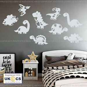 Baby Dinosaur Wall Stickers Decals Vinyl Cute 9 Assorted Kids Bedroom Removable