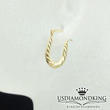 Ladies Women's New D/Cut Real Genuine 10kt Yellow Gold Baby Shrimp Loop Earrings