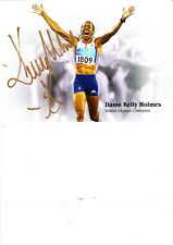 DAME KELLY HOLMES HAND SIGNED 6 X 8 INCH COLOUR PROMO CARD