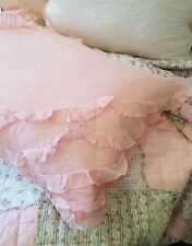 Pink Pillow Case Sham Slip Soft Organdy Frilled Edge Ruffles Standard Size