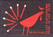 POLAND 1960 Matchbox Label - Cat.Z#563 A. III Rooster, match tail.