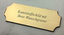 großes TÜRSCHILD Namensschild messing- 140x55mm selbstklebend - mit WUNSCHGRAVUR
