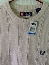 CHAPS Ralph Lauren Cream Off White Cable Knit Crew Neck Pullover Sweater XXL