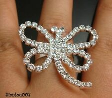 Diamonte/Diamante Silver Tone Large Butterfly / Dragonfly Shape Ring - NEW!!