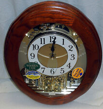 """RHYTHM"" MUSICAL WALL CLOCK -THE JOYFUL NOSTALGIA IN OAK W/ 18 MELODIES 4MH852"