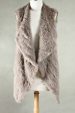 NEW 100% RABBIT FUR WATERFALL LONG VEST TAUPE Size S, M, L