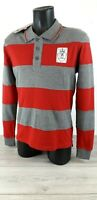 KANGOL Mens Red Grey Striped Panel Rugby Long Sleeve Polo Shirt Top SMALL R773-6