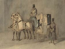 CONSTANTIN GUYS FRENCH CARRIAGE WITH DRIVER GROOM AUTUMN ARTWORK PRINT BB5147A
