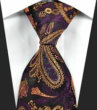 Cravate Hommes Violet Orange or Noir Soie Floral Motif Cachemire 627