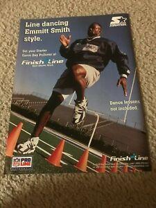 Vintage 1996 EMMITT SMITH STARTER Poster Print Ad DALLAS COWBOYS PULLOVER JACKET