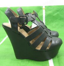 "new ladies Black 5""High Wedge Heel 1.5""Platform  round toe Sexy Shoes Size  8"