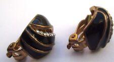 bijou vintage boucles d'oreilles clip couleur or émail noir cristaux 3272