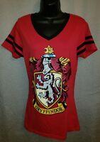 Harry Potter Red Gryffindor Crest V-Neck T-Shirt - Juniors XL