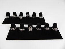 TWO 6-Finger Ring Display Black Velvet Jewelry Showcase rings