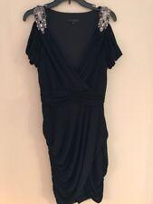 EUC David Meister Dress Sz 10 Black Rhinestones Cold Shoulder Sleeves Crisscross